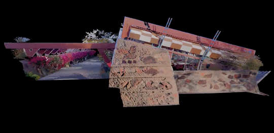 """A """"point-cloud"""" rendering of the drafting studio at Taliesin."""