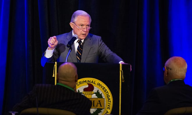 Attorney General Jeff Sessions addresses the Association of State Criminal Investigative Agencies at their 2018 Spring Conference May 7, 2018, at the Scottsdale Resort at McCormick Ranch.