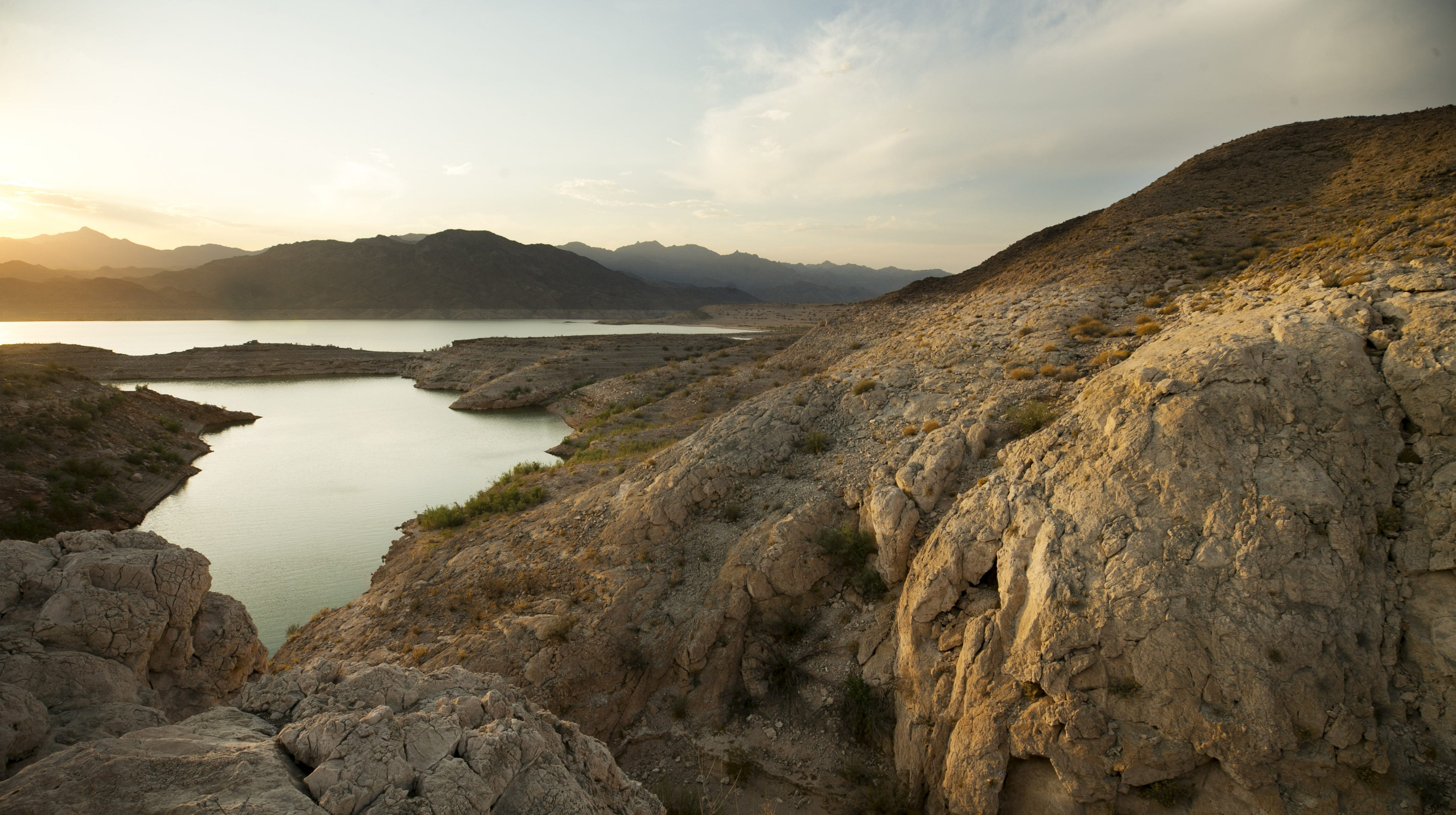 A line along a cliff illustrates where the surface of Lake Mead once stood near South Cove in the Lake Mead National Recreation Area on Aug. 1, 2018. Lake levels are at or near historic lows.