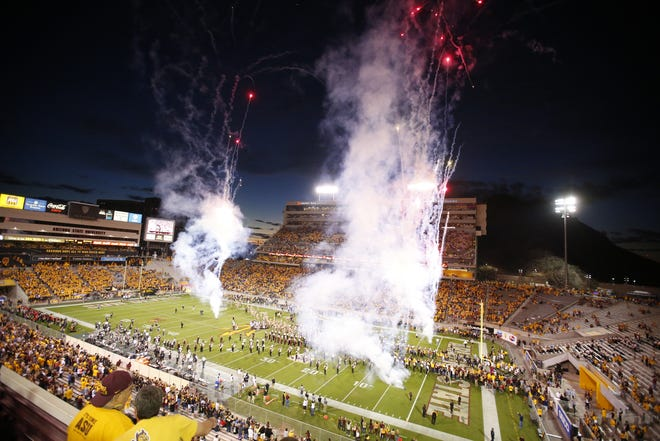 Arizona State Sun Devils get ready to kick off a game against the Colorado Buffaloes at Sun Devil Stadium in Tempe on November 4, 2017.