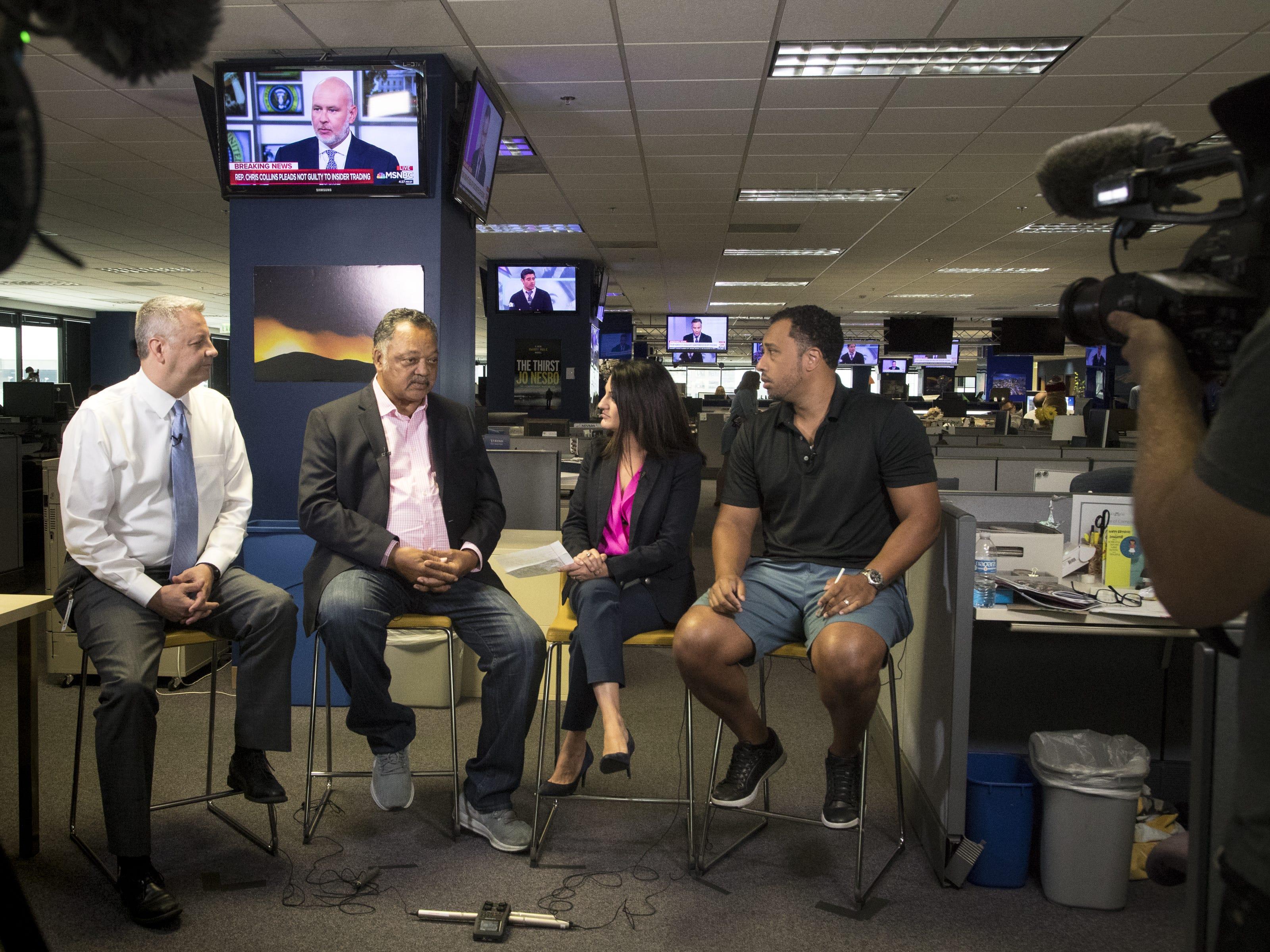 Ron Hansen, Yvonne Wingett Sanchez and Greg Moore interview Jesse Jackson at The Arizona Republic on Aug. 8, 2018.