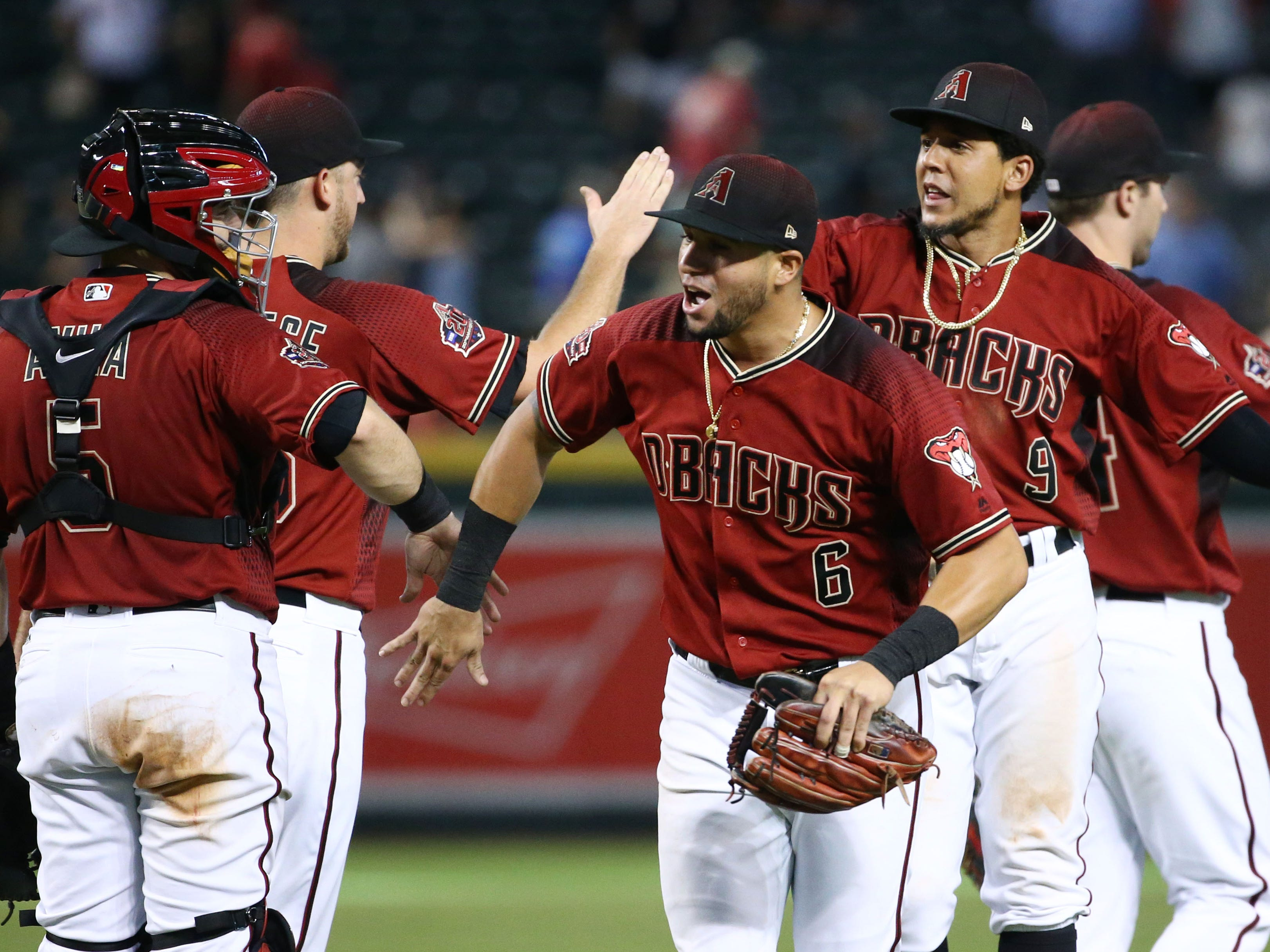 Arizona Diamondbacks David Peralta celebrates their 6-0 win over the Philadelphia Phillies on Aug. 8, 2018, at Chase Field in Phoenix, Ariz.
