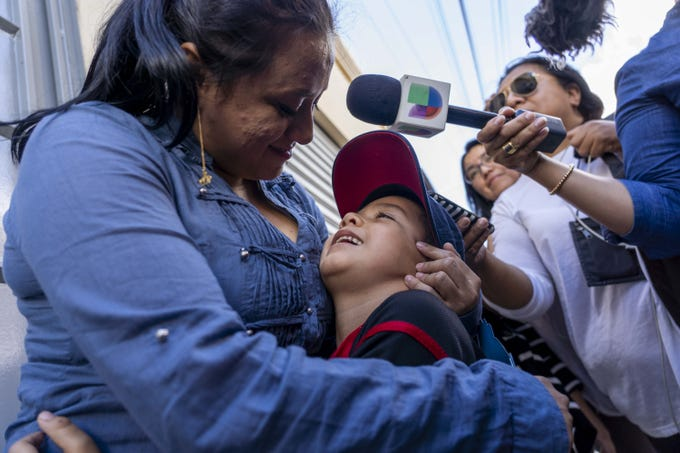 "Lourdes Marianela DeLeon holds her for her six-year-old son Leo after they were reunited inside the shelter on August, 7, 2018. Lourdes said Leo's first words to her were, ""I love you."""