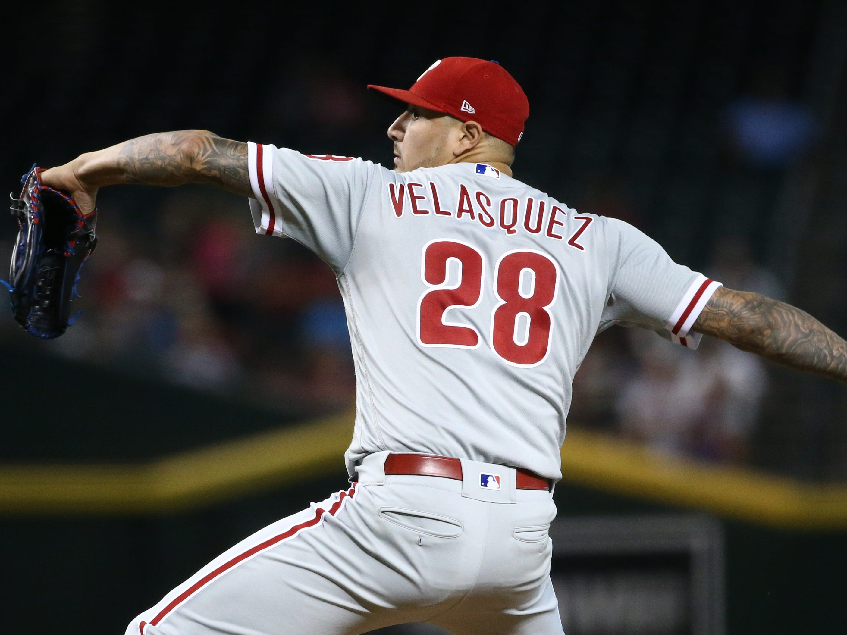 Philadelphia Phillies pitcher Vince Velasquez throws to the Arizona Diamondbacks in the first inning on Aug. 8, 2018, at Chase Field in Phoenix, Ariz.