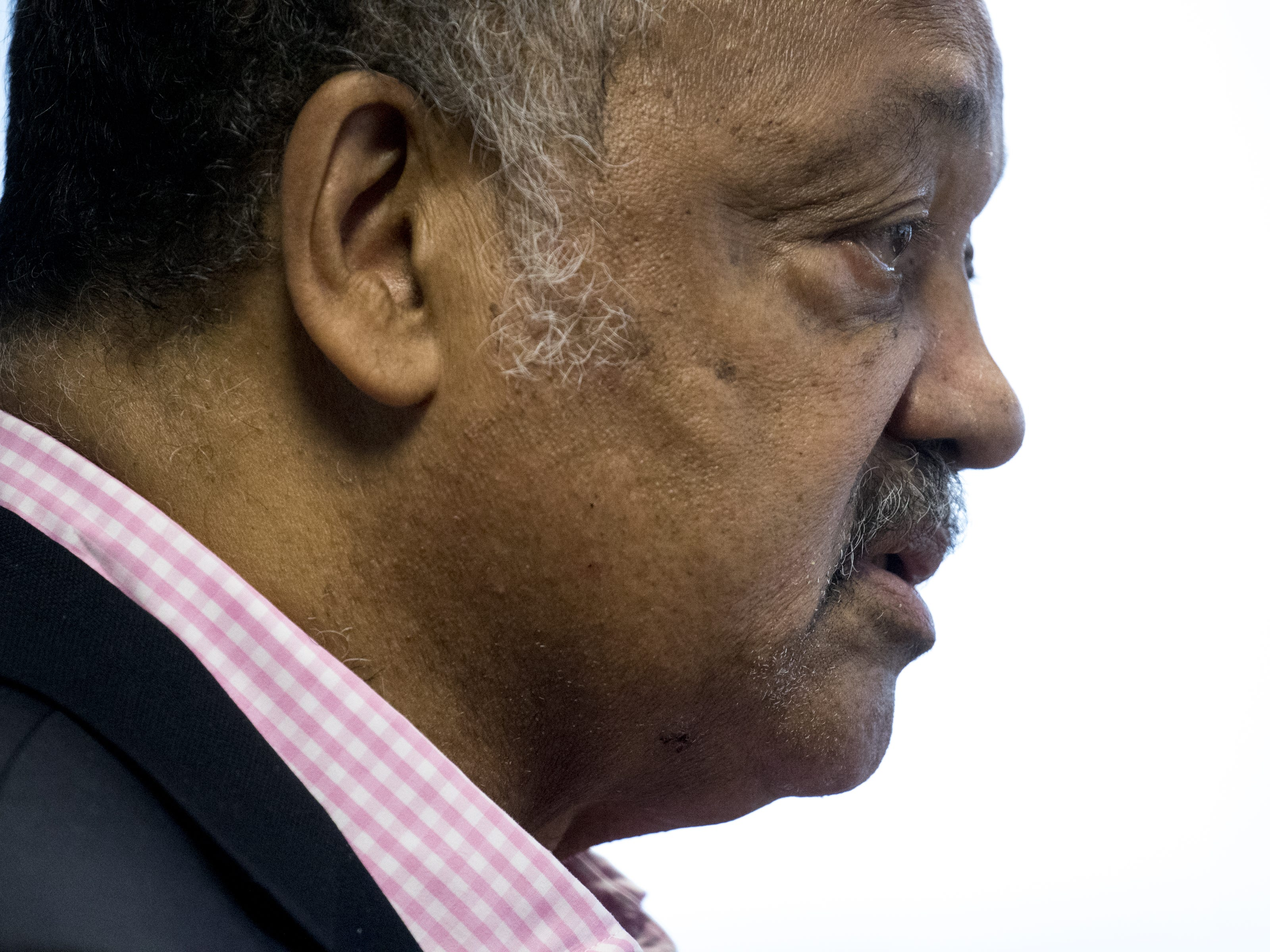 Jesse Jackson answers a question during an interview in the editorial board room, Aug. 8, 2018, at The Arizona Republic.