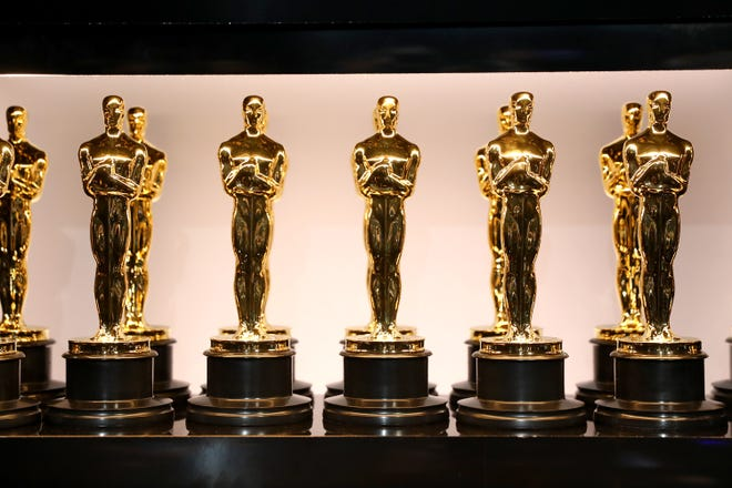 Oscar statues in this handout provided by the Academy of Motion Picture Arts and Sciences at the Academy Awards on March 4, 2018.