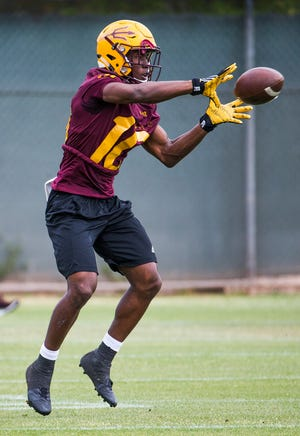 ASU receiver Kyle Williams, seen here making a catch during spring practice,  had 66 catches for 763 yards and seven touchdowns last season.