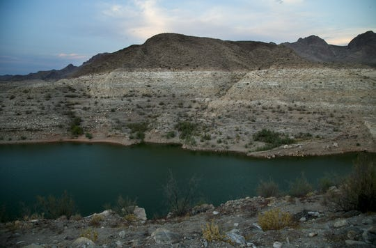 A line along a cliff illustrates where the surface of Lake Mead once stood near South Cove in the Lake Mead National Recreation Area on Aug. 1, 2018.