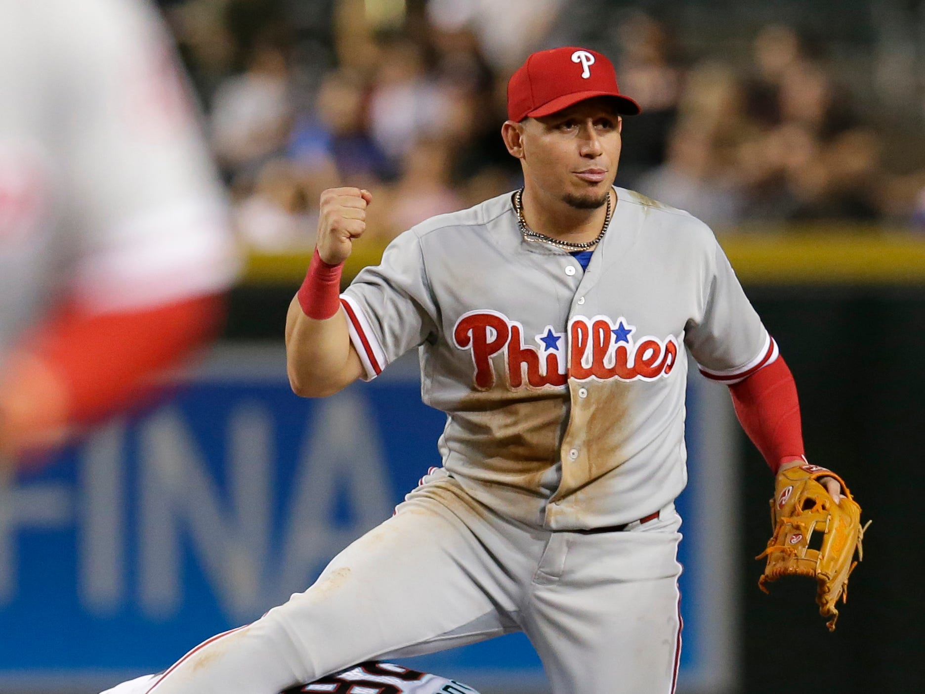 Philadelphia Phillies second baseman Asdrubal Cabrera (13) in the eighth inning during a baseball game against the Arizona Diamondbacks, Tuesday, Aug. 7, 2018, in Phoenix.