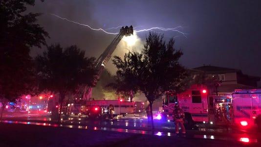 Lightning strike during monsoon storm, Aug. 7, 2018
