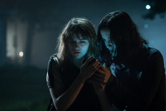 "Joey King (left) and Julia Goldani Telles star in ""Slender Man."""