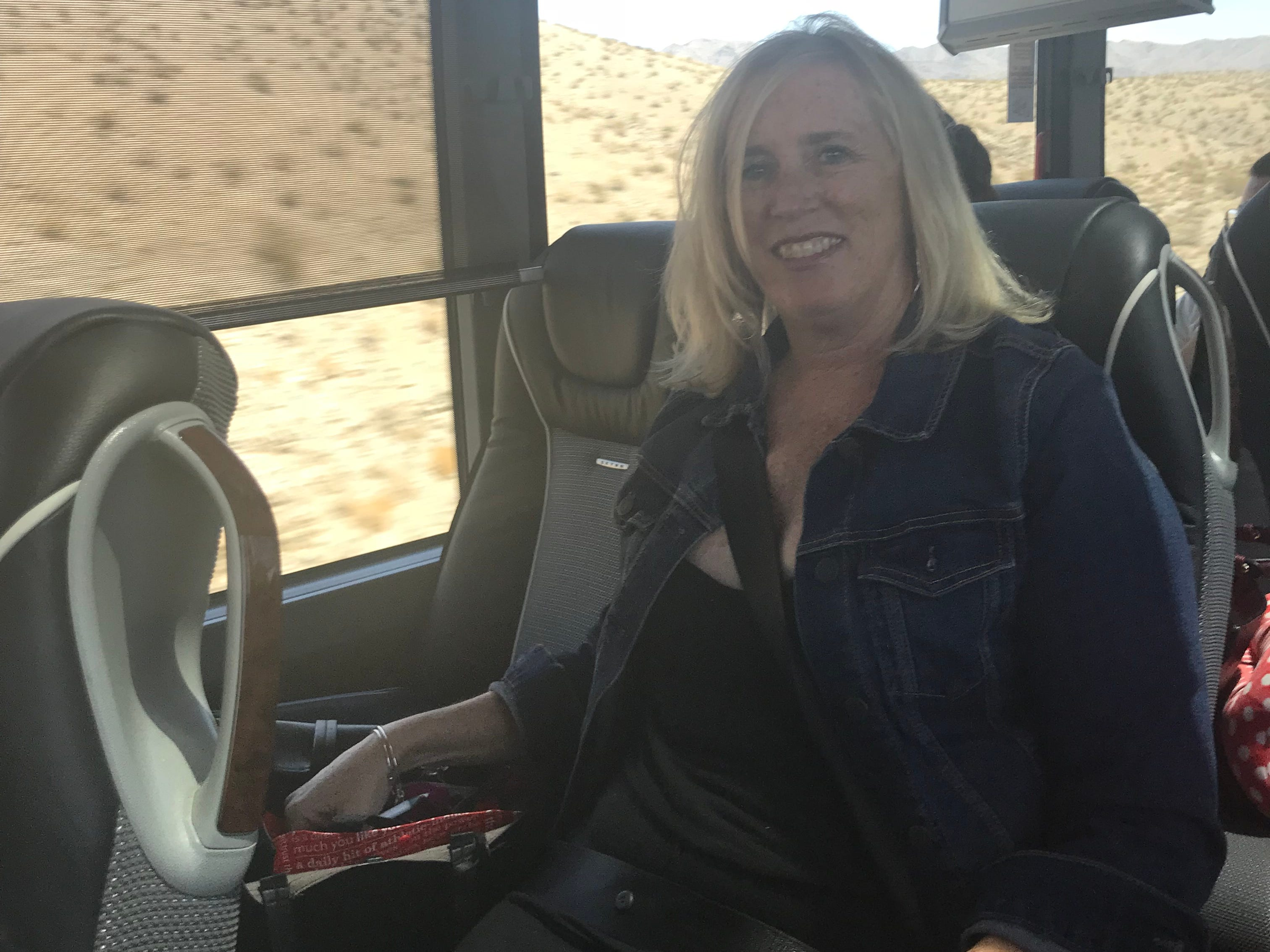 Dawn Gilbertson, travel reporter for the Arizona Republic and AZCentral.com, on a FlixBus from Phoenix to Las Vegas in August 2018.