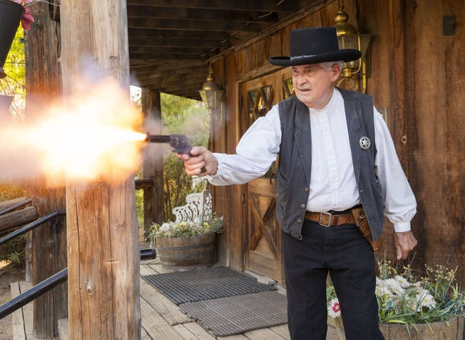 Longtime gunfighter Bob Charnes is shown at the Rockin R Ranch in Mesa, Ariz., on Aug. 6, 2018. Charnes, 80, has performed in re-enactment for more than 60 years.