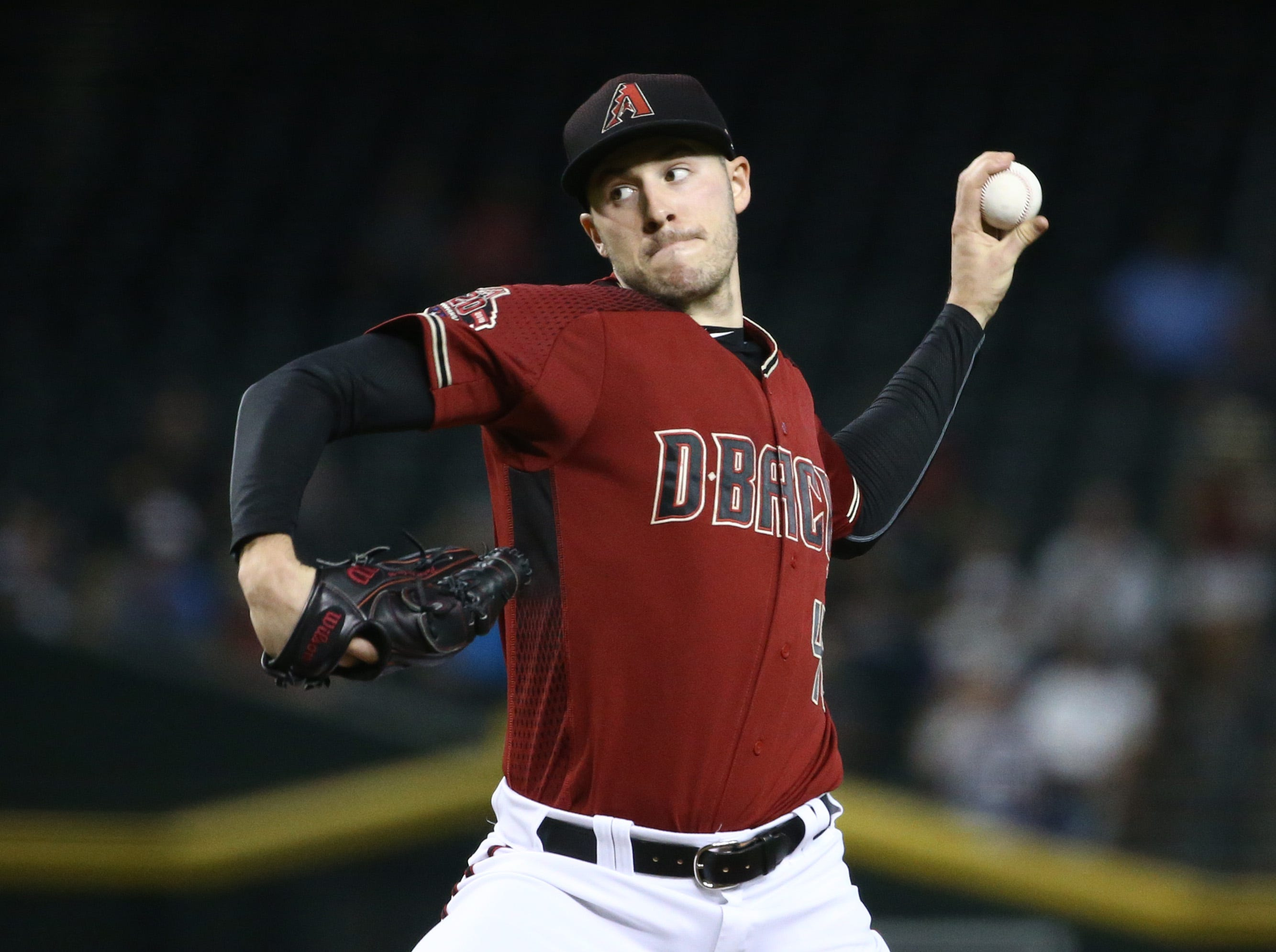 Arizona Diamondbacks pitcher Patrick Corbin throws to the Philadelphia Phillies in the first inning on Aug. 8, 2018, at Chase Field in Phoenix, Ariz.