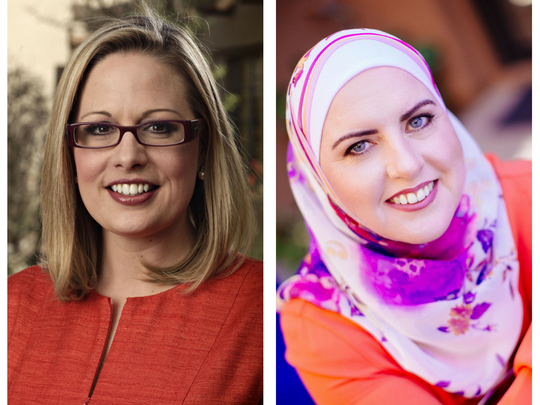U.S. Senate Democratic candidates Kyrsten Sinema (left) and Deedra Abboud.