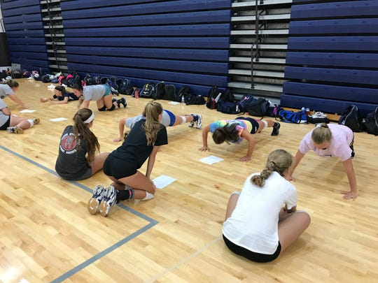 Marysville goes through its first volleyball practice of the season