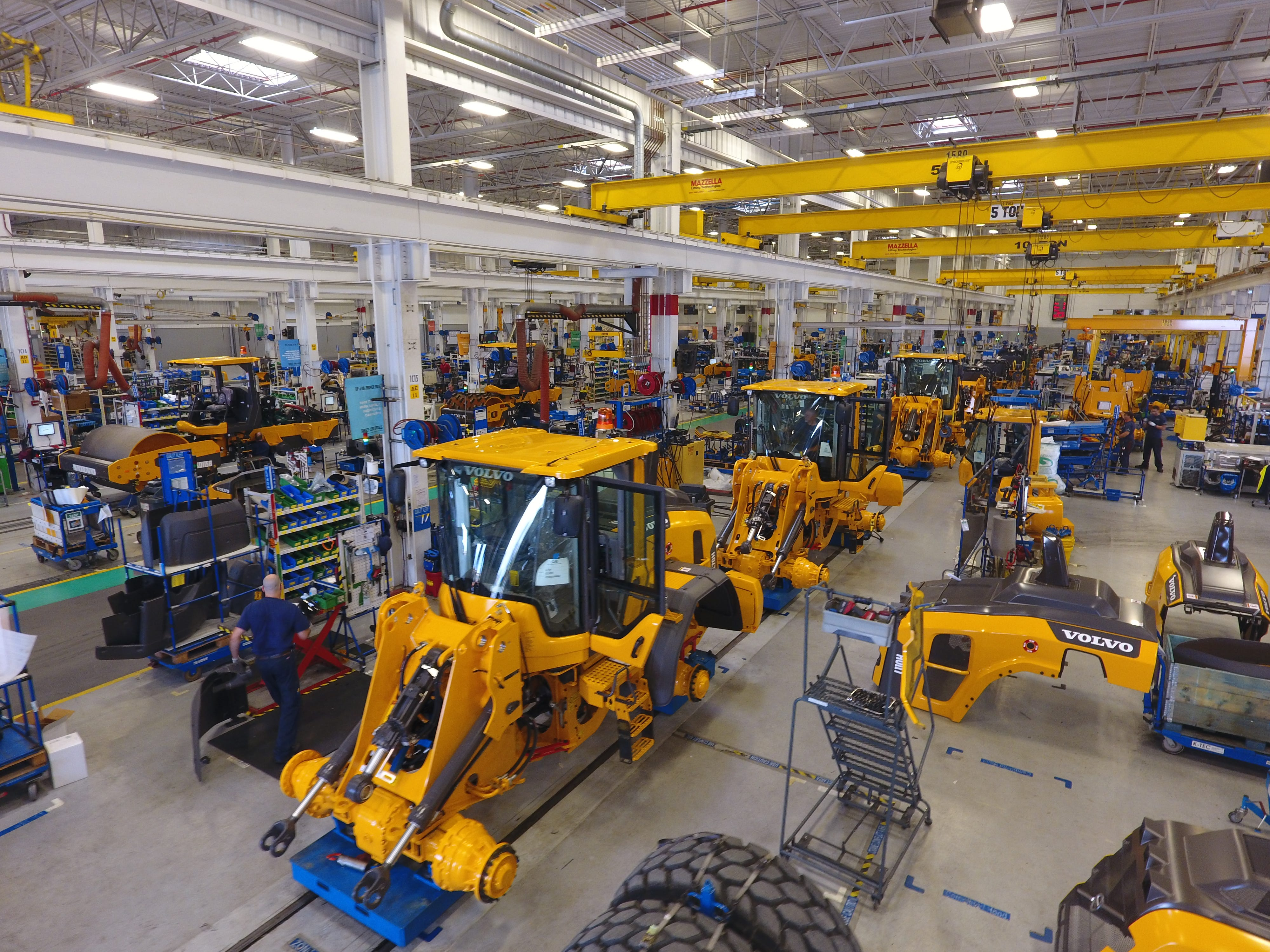 Wheel loaders are assembled at the Volvo Construction Equipment plant in Shippensburg.