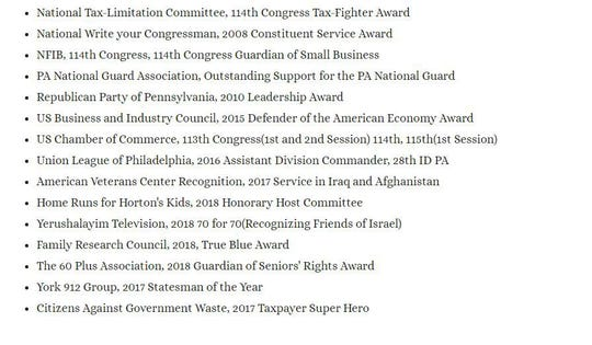 "A screenshot from Rep. Scott Perry's campaign website, where a fake award from Showtime's ""Who is America?"" sat for several days."