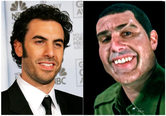 """This combination photo shows Sacha Baron Cohen at the 64th Annual Golden Globe Awards in Beverly Hills, Calif., on  Jan. 15, 2007, left, and Cohen portraying retired Israeli Colonel Erran Morad in a still from the Showtime series, """"Who Is America?"""" After crafting previous eccentric personas such as Borat and Bruno, Sacha Baron Cohen has created his most stereotypical character yet in Col. Erran Morad.  (AP Photo/Kevork Djansezian, left, and Showtime)"""