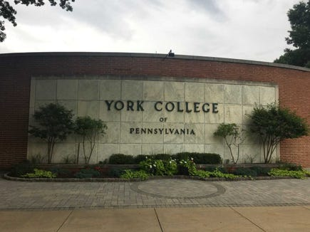 The name - and the lettering on the facade - changed in 1968, when the junior college became York College of Pennsylvania.