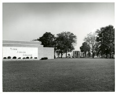 The York Junior College name on the building facade on the new campus in 1964.