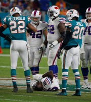 Buffalo Bills running back LeSean McCoy (25) lies injured on the field, during the second half of a game against the Miami Dolphins.