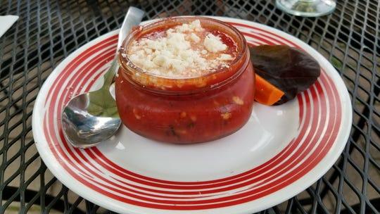 Watermelon Gazpacho at Olive's Greek Taverna.