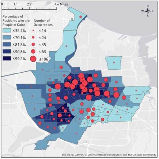 The map shows census tracts by proportion of people of color, with lighter shading representing higher proportions of white residents and darker shading representing higher percentages of residents of color. Circles represent relative numbers of nuisance ordinance enforcement.