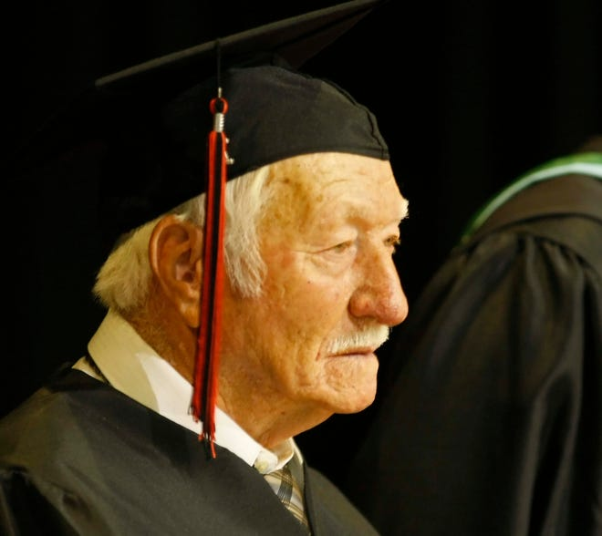 Theodore Cupp was the honorary graduate during the North Salem High School graduation ceremony in the Salem Armory on Friday, June 10, 2011.