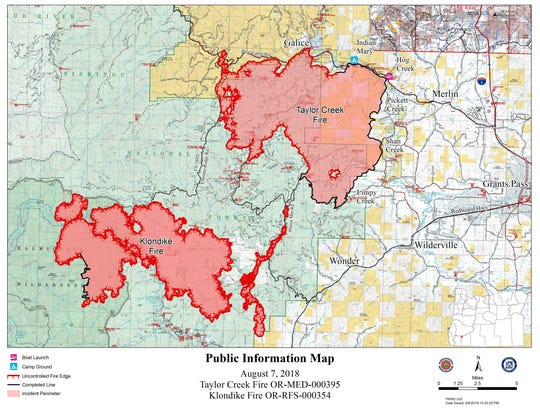 Map of the Klondike Fire as of August 7.