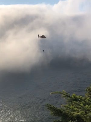A Coast Guard crew rescued a man who fell down a cliff near the popular God's Thumb hike on Tuesday.