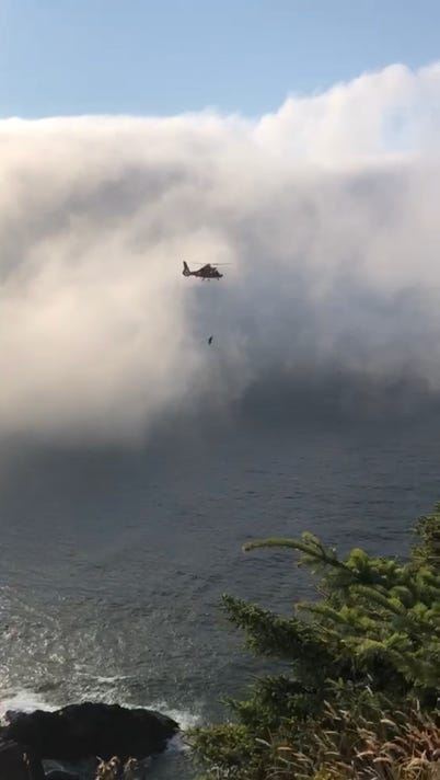 Coast Guard Aircrew Hoists Man Who Fell Off Cliff Near Lincoln City Oregon