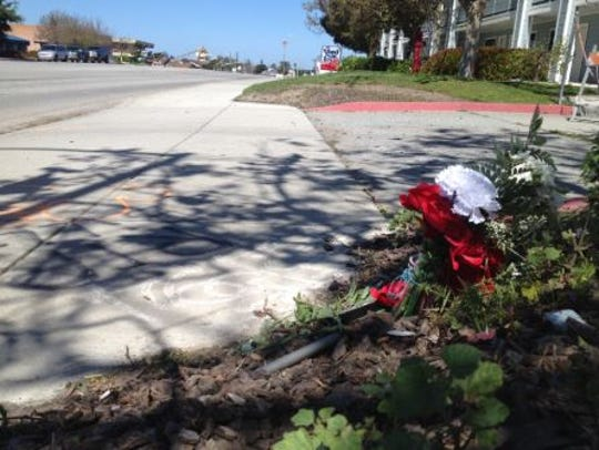 A small memorial was set up near where William Henry Crabbe was struck by a vehicle.