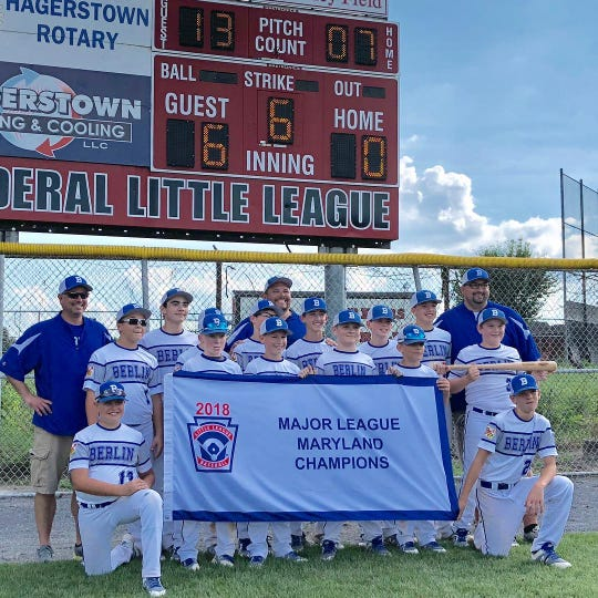 The Berlin Little League after winning the 11-12 Major League Maryland State Championship in 2018.