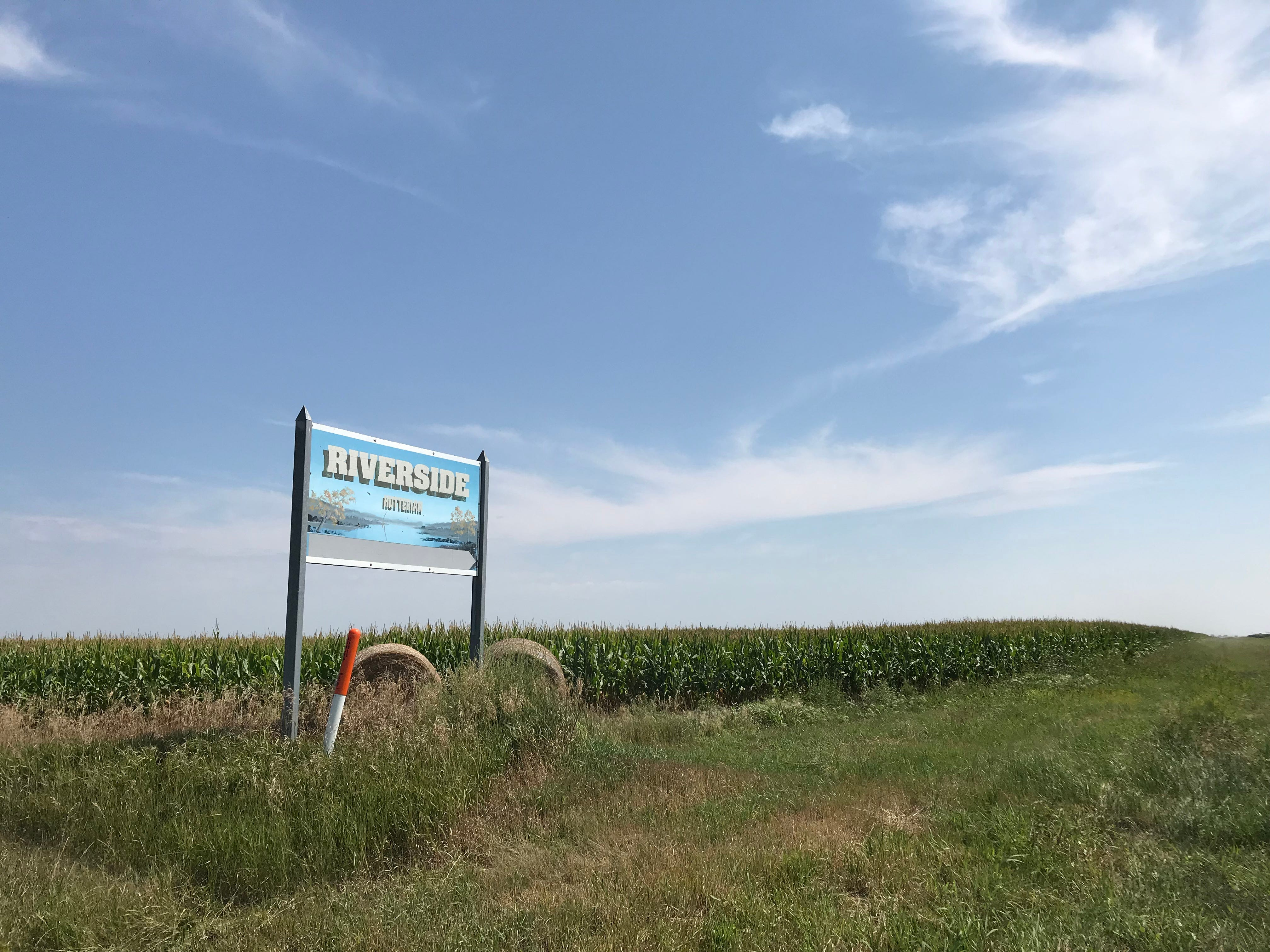 The sign for the Riverside colony and turkey farm, home to South Dakota's first-ever National Thanksiving Turkey.