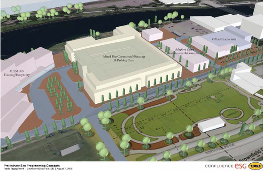 Early conceptual designs for the Sioux Steel site in downtown Sioux Falls.
