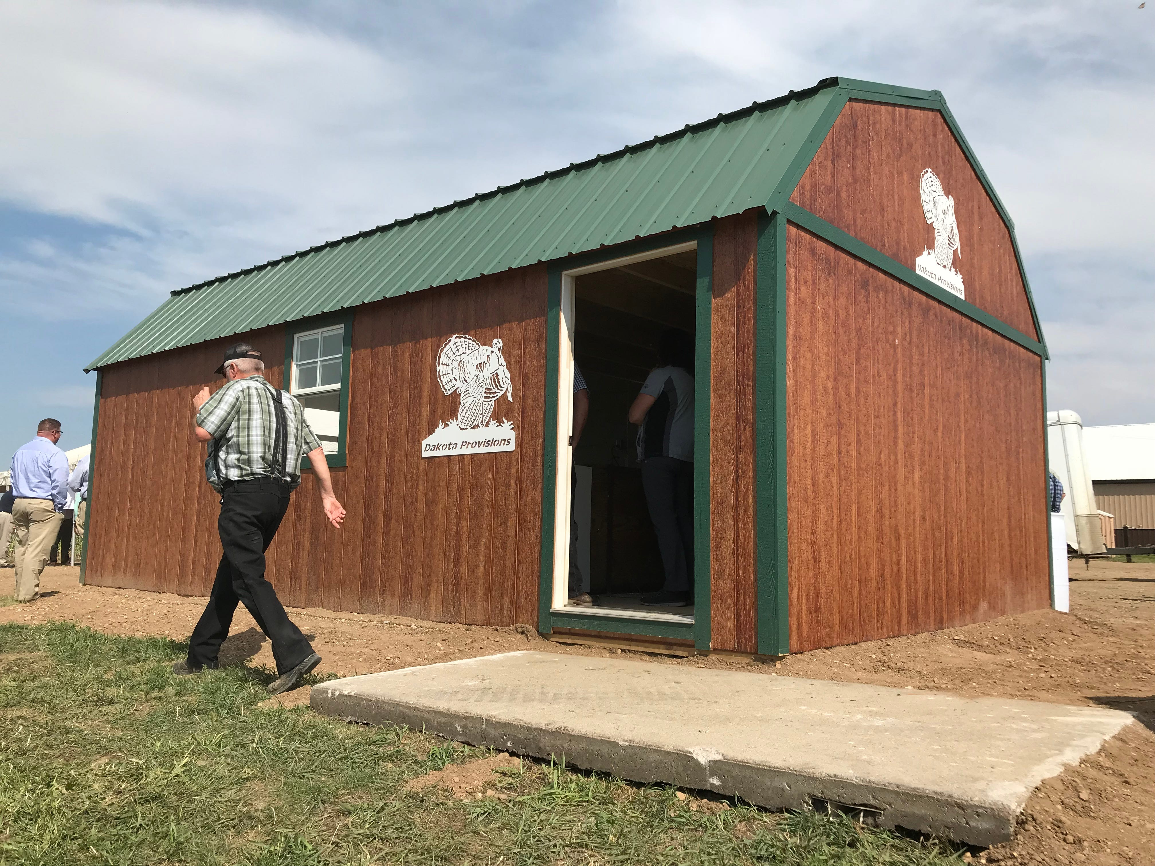 "The specially built, air-conditioned ""presidential suite"" shed at Riverside Turkey Farm outside Huron holds 49 birds (1 died from an illness), all candidates for South Dakota's first National Thanksgiving Turkey."