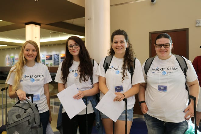 Among the students attending the first Rocket Girls cyberspace camp at the Kennedy Space Center in Florida were (from left) Rayanne Liester of Baltic, Sophia Hall of Sioux Falls, Amanda Tomes of Dell Rapids and Amanda Koehn of Aberdeen.
