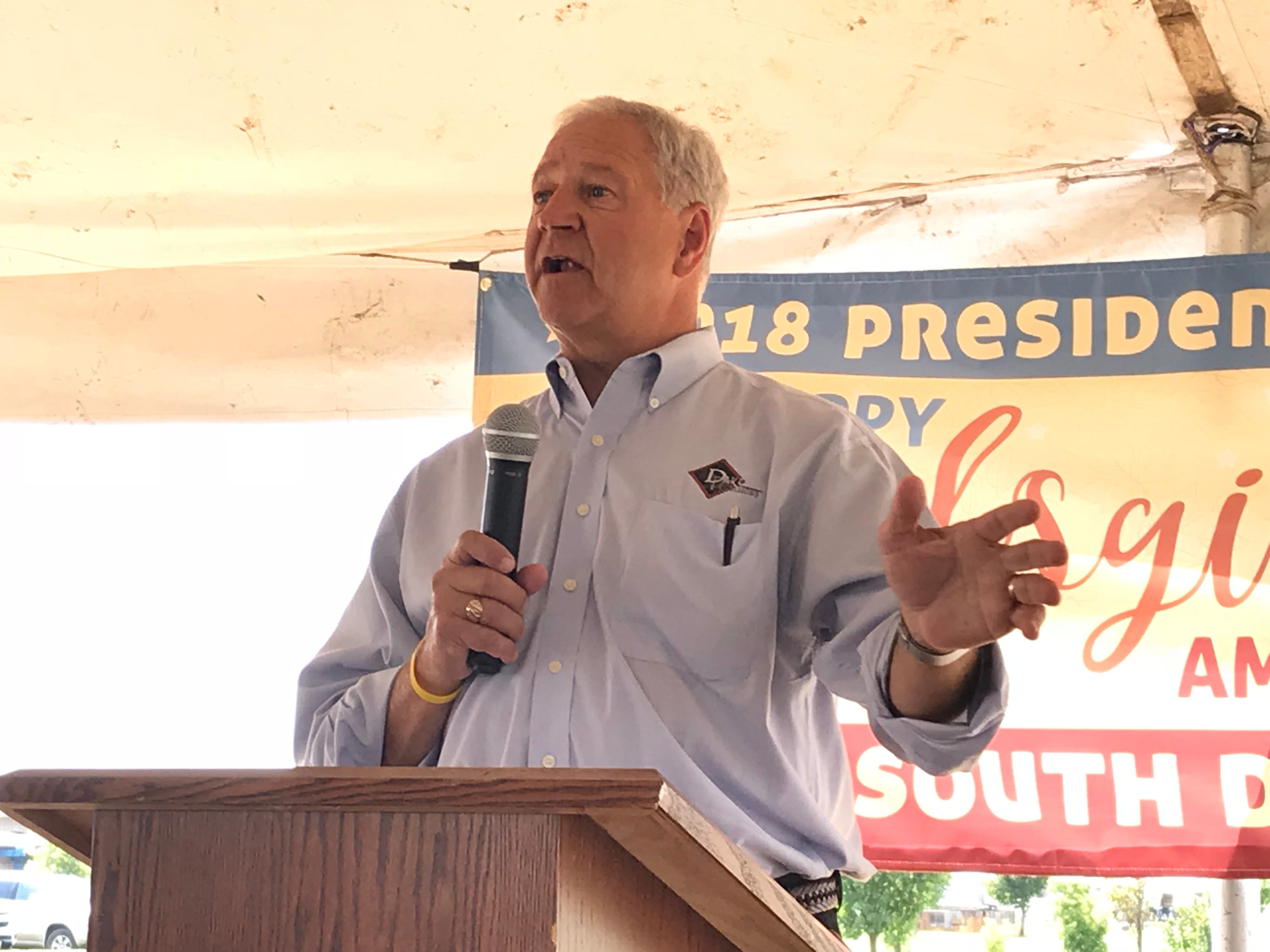 Jeff Sveen, board chair of Dakota Provisions and current chair of the National Turkey Federation, speaks at the presentation of South Dakota candidate birds for the National Thanksgiving Turkey, a tradition that dates back to the Truman administration.