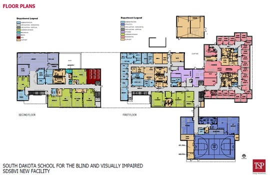 Floor plans for the new South Dakota School for the Blind and Visually Impaired, expected to open in fall 2019.
