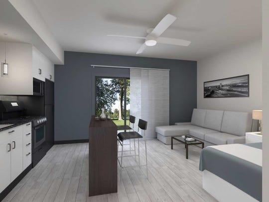 A rendering of the inside of the Boomer Town studio apartments on National Avenue across from Missouri State University.