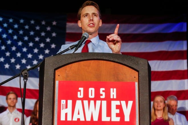 Josh Hawley speaks during the GOP watch party at the University Plaza Convention Center on Tuesday, Aug. 7, 2018.