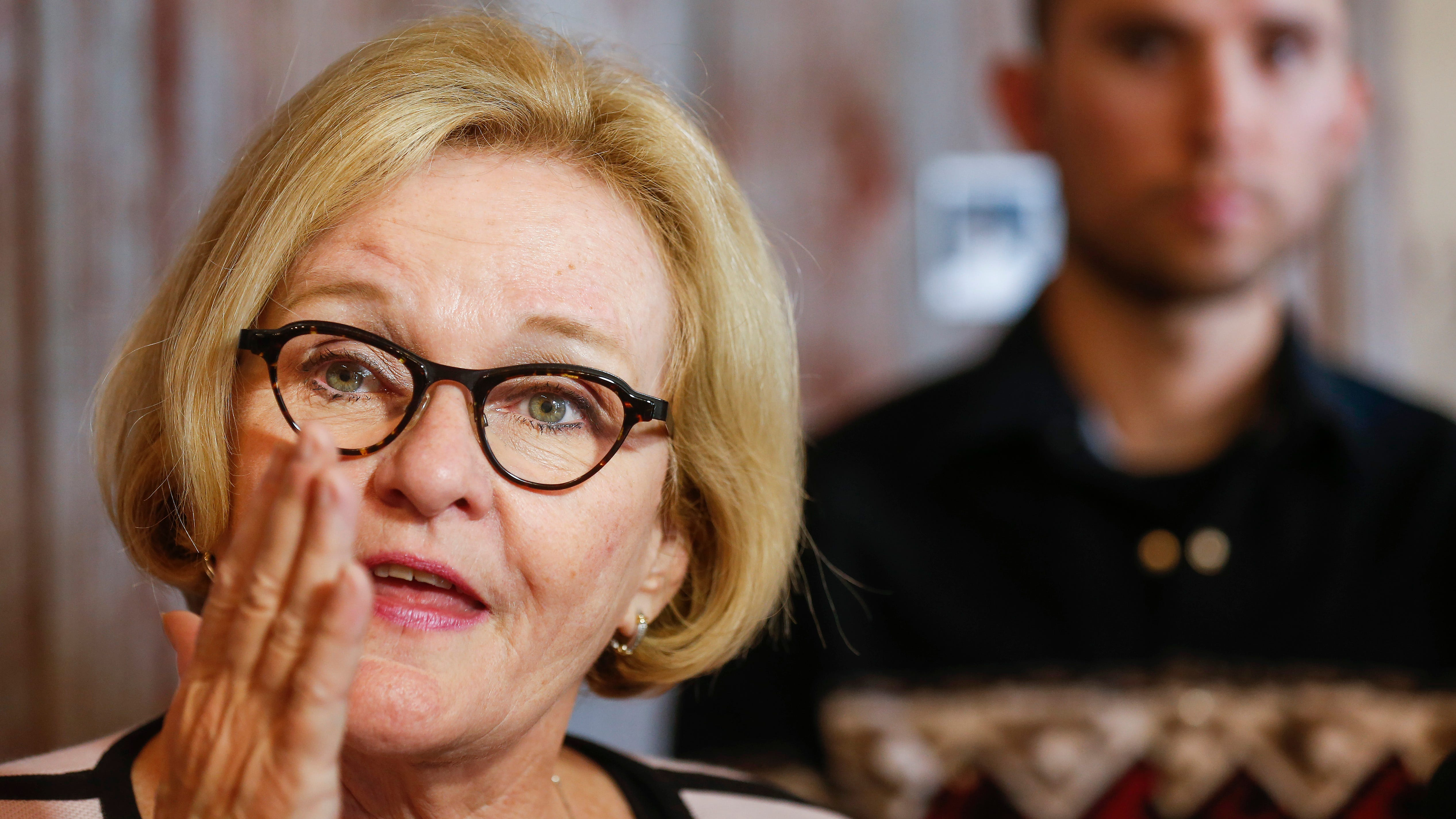 Claire McCaskill talks to the media at her campaign office in Springfield on Wednesday, Aug. 8, 2018.