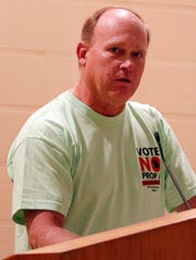 Art Kessler speaks to people at  the Vote NO on Prop A watch party at the  Teamsters Hall in north Springfield on August 7, 2018.