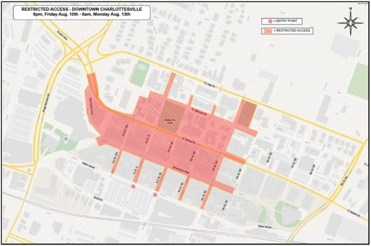 Restricted access areas for downtown Charlottesville from 6 p.m. Aug. 10 to 6 a.m. Aug. 13.