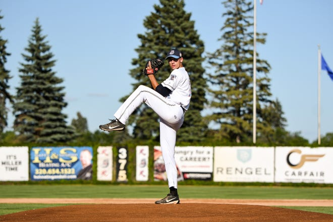 Right-hander Joey Stock delivers a pitch for the St. Cloud Rox at Joe Faber Field. Stock, who is 6-foot-5, has hit 93 miles-per-hour in the Northwoods League and turns 21 in September.