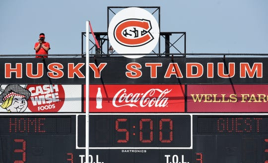 The St. Cloud State football team is filmed from a perch above the scoreboard during practice Wednesday, Aug. 8, at Husky Stadium in St. Cloud.