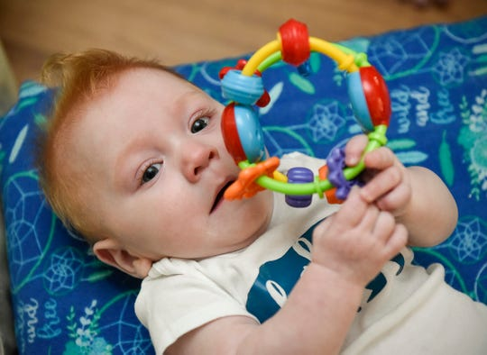 Winston Rochat was born three months early at 1 pound, 1 ounce. He is shown Monday, Aug. 6, at home in Little Falls.