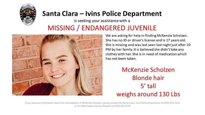 Police in Southern Utah are searching for a missing teenager.