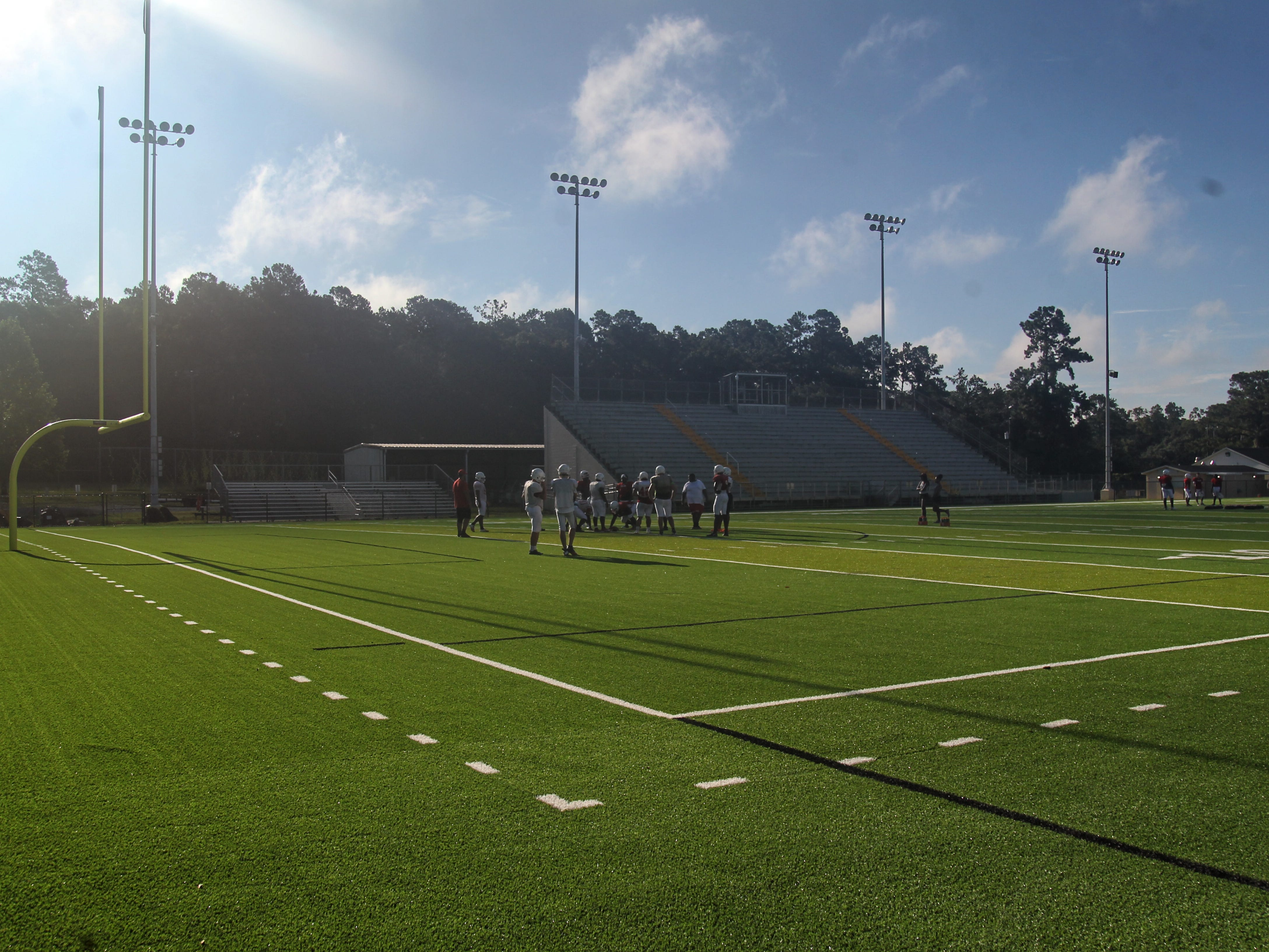 Leon's football team practices at Gene Cox Stadium on its new turf field on Tuesday, Aug. 7, 2018. Formerly Capital Stadium, Cox Stadium was dedicated to legendary Leon coach Gene Cox in 1997.